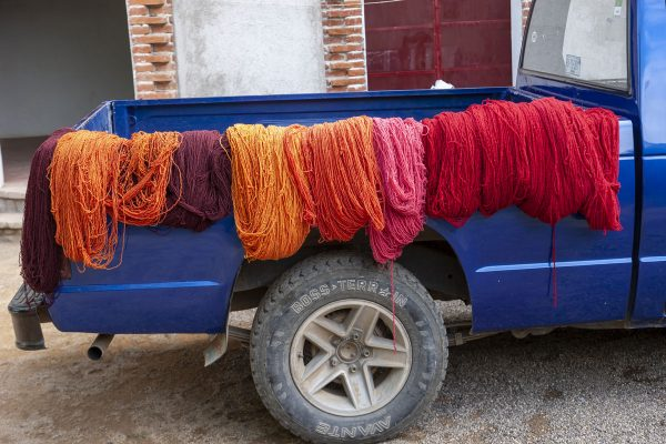 Cochineal Dyed Yarn on Blue Pickup